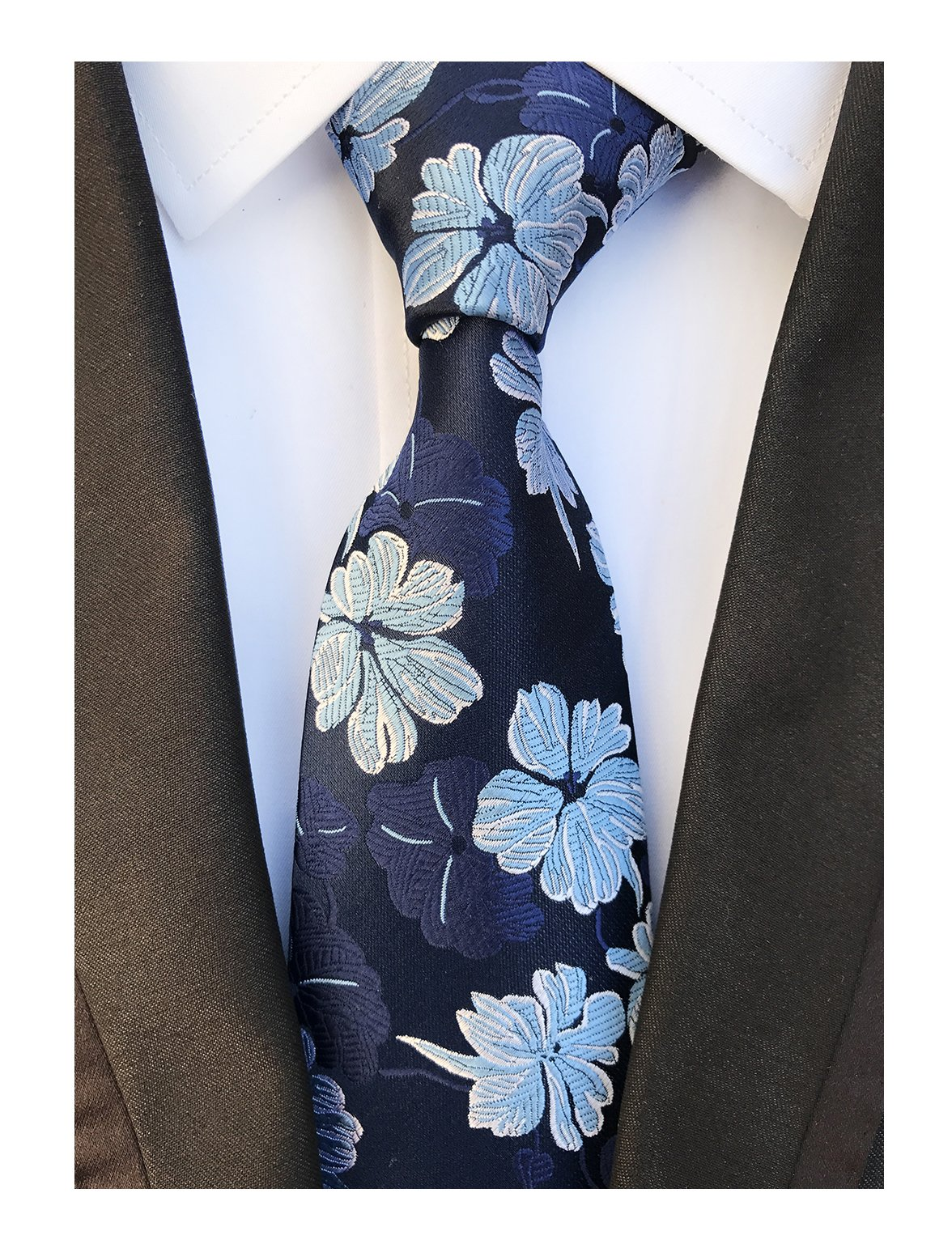 Men's Navy Blue Silk Ties Banquet Cool Beautiful Neckties Gift Ideal for Husband
