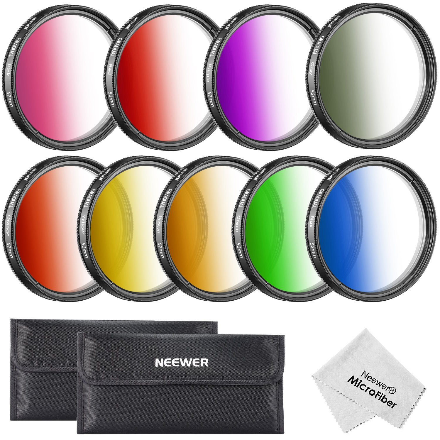Neewer 52MM Complete Graduated Color Lens Filter Set (9pcs) for Camera Lens with 52MM Filter Thread - Includes: Red, Orange, Blue, Yellow, Green, Brown, Purple, Pink and Gray ND Filters + Filter Carry Pounch by Neewer