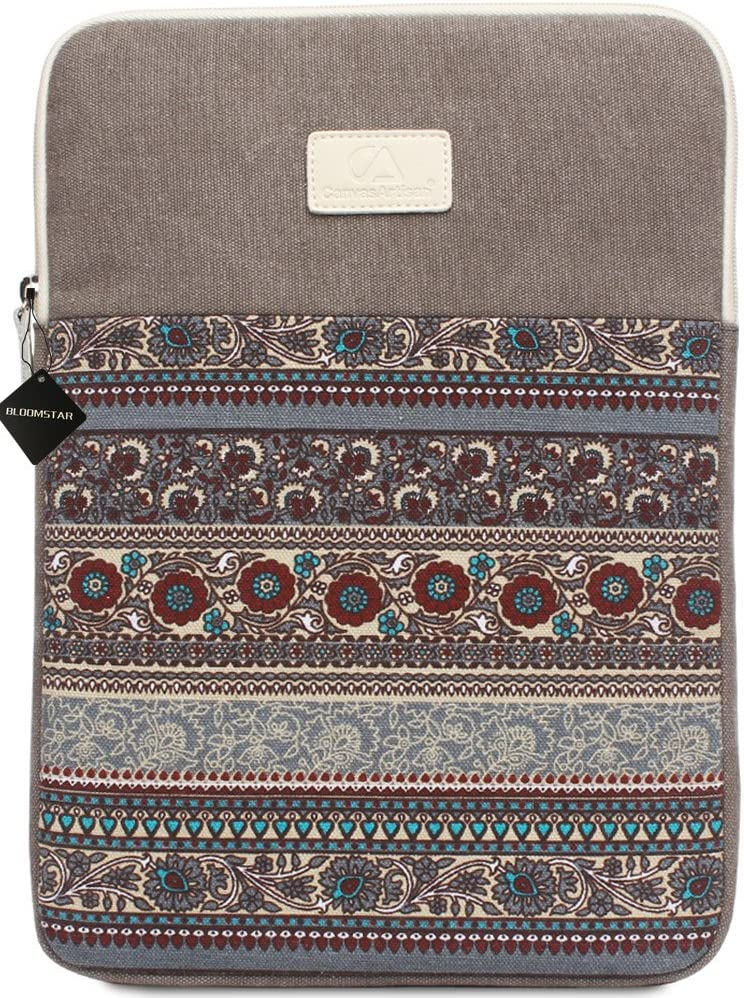 14 Inch Laptop Sleeve Bohemian Canvas Protective Notebook Bag Computer Case Cover for MacBook Pro MacBook Air Chromebook Acer Dell HP Samsung Sony (Vertical, Gray)