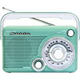 Studebaker SB2002TE Portable AM/FM Radio with Headphone Jack and aux-in Jack for Listening to Other Audio Sources (Teal/White