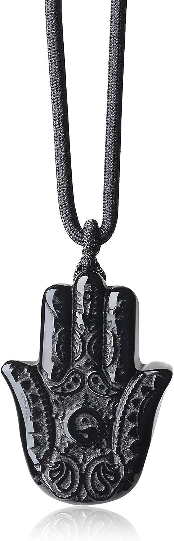 COAI Colgante Unisex Mano de Fátima de Obsidiana Negra