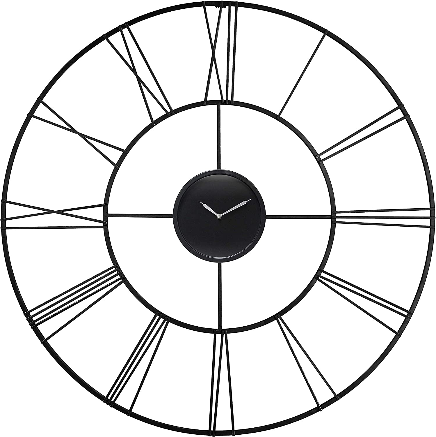 Unknown1 Modern Tower 45 Inch Oversized Metal Black Roman Numeral Wall Clock Finish
