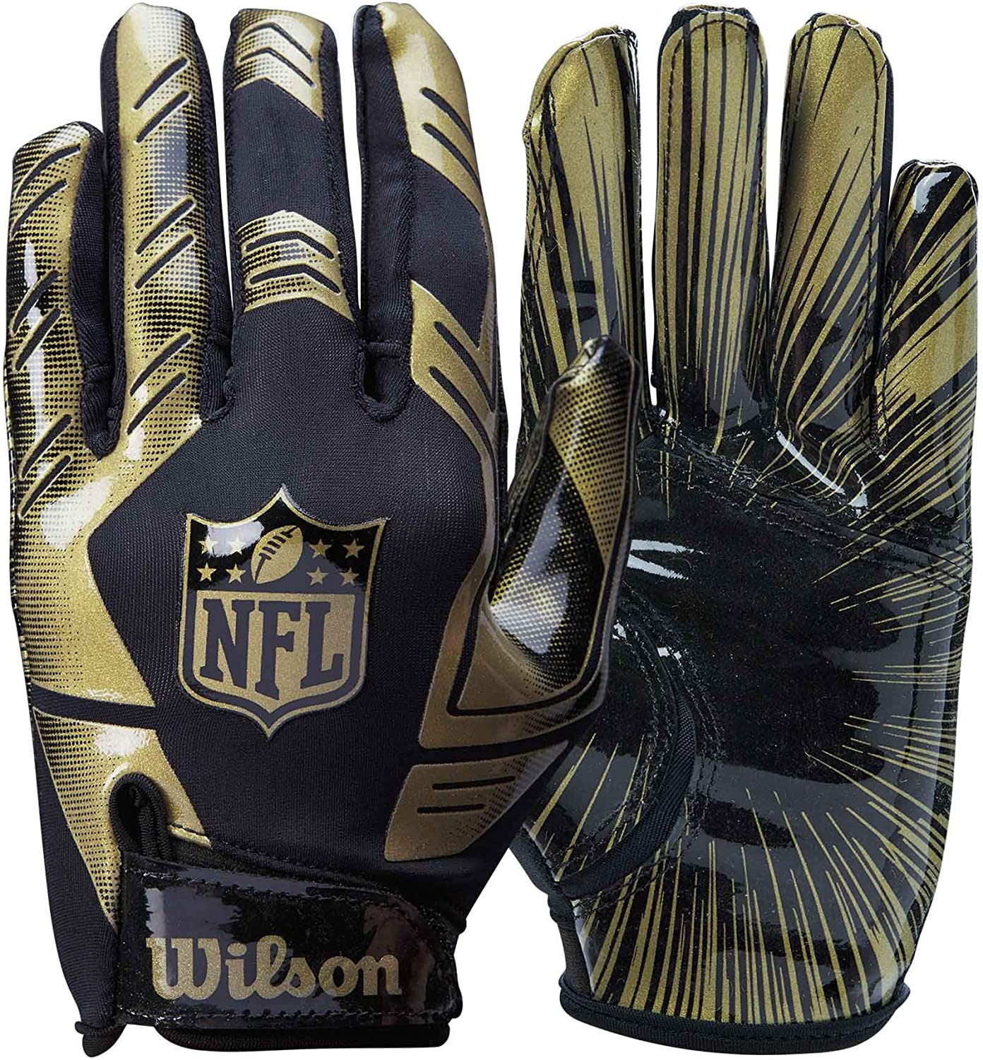 2020 Wilson NFL Stretch Fit Receivers Gloves Gold