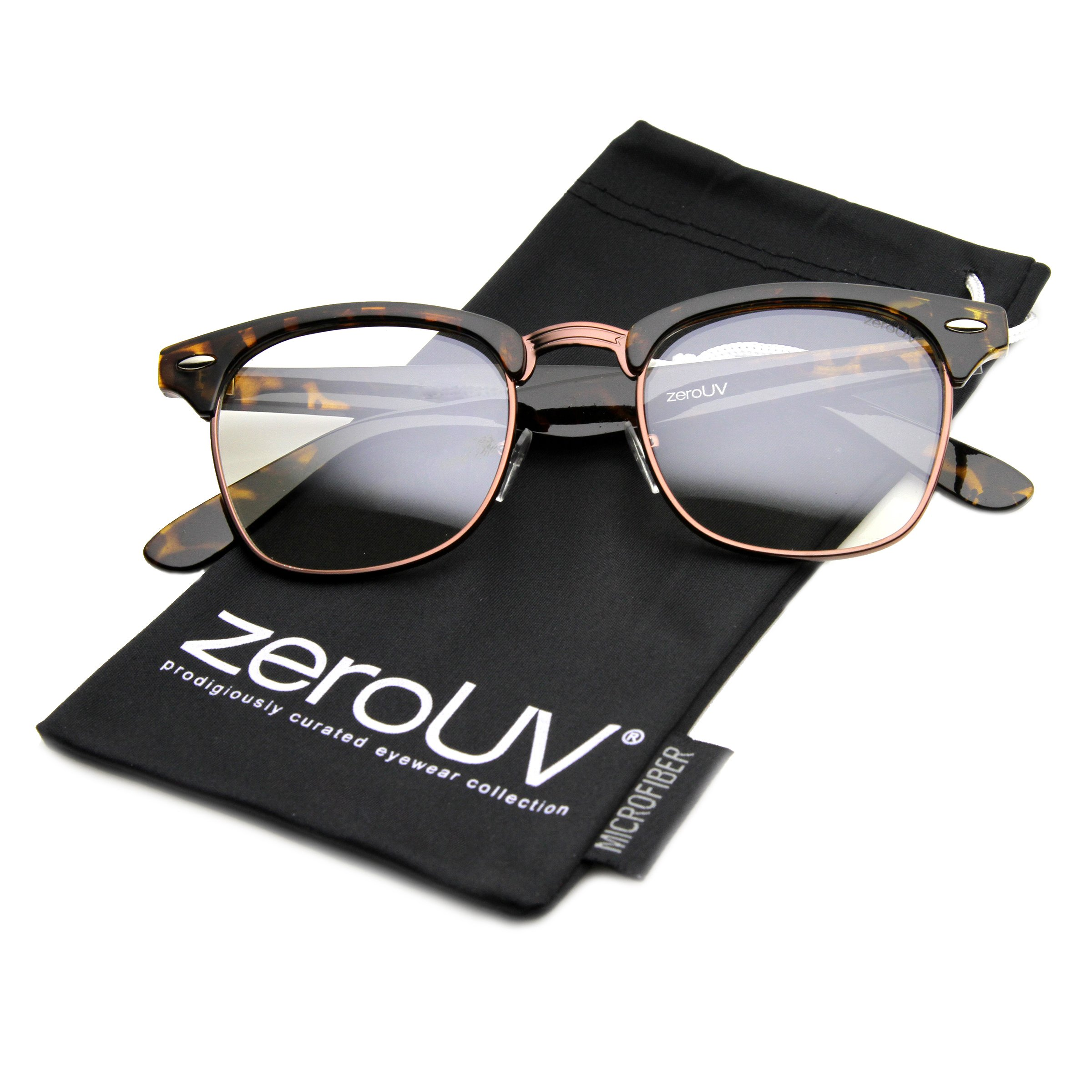 6bdf68e085 zeroUV - Vintage Inspired Classic Horn Rimmed Nerd Horn Rimmed UV400 Clear  Lens Glasses (Clear