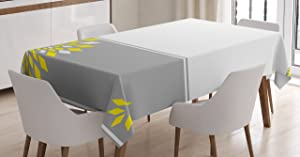 """Ambesonne Grey and Yellow Tablecloth, Modern Futuristic Border with Geometric Flower Frame, Rectangular Table Cover for Dining Room Kitchen Decor, 60"""" X 90"""", Grey Marigold"""