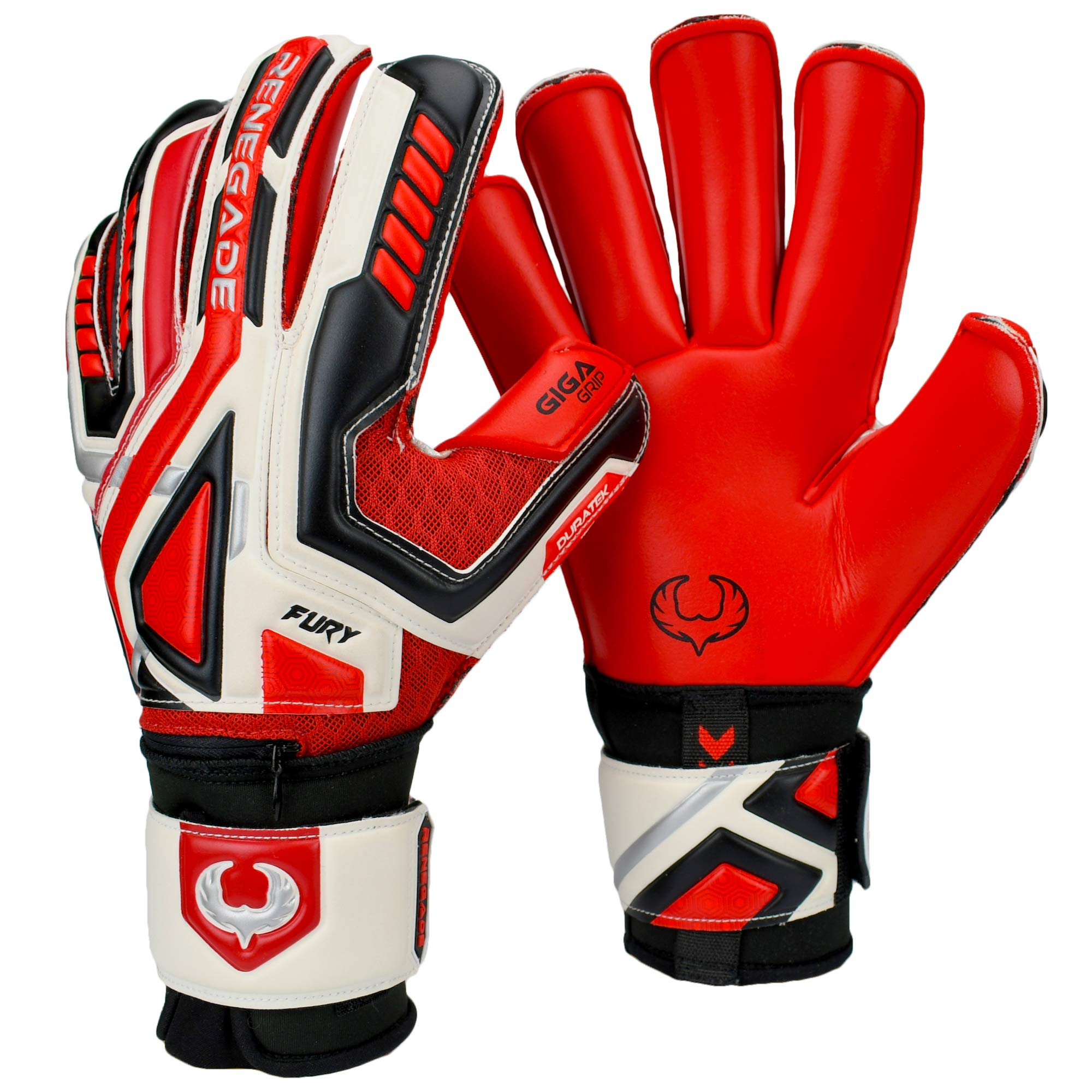 Renegade GK Fury Inferno Roll Cut Level 4 Goalkeeper Gloves Youth & Adult with Fingersaves - Youth Goalie Gloves Soccer - Goalkeeper Gloves Size 7 - Black, Silver, White, Red Goalie Gloves