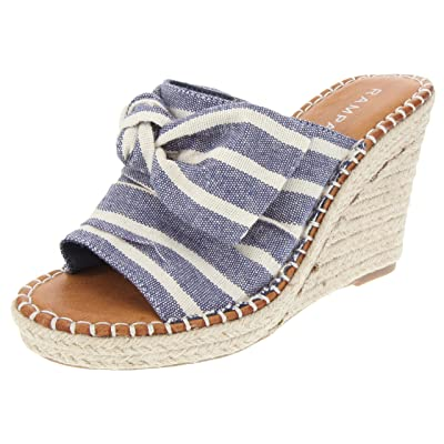 Rampage Women's Hannah Espadrille Wedge Slide Sandal with Knotty Bow Detail | Platforms & Wedges