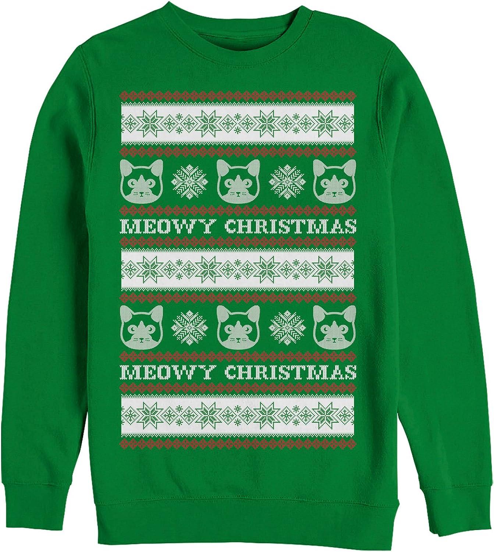 Mens Ugly Christmas Sweater Cat Snowflakes Sweatshirt