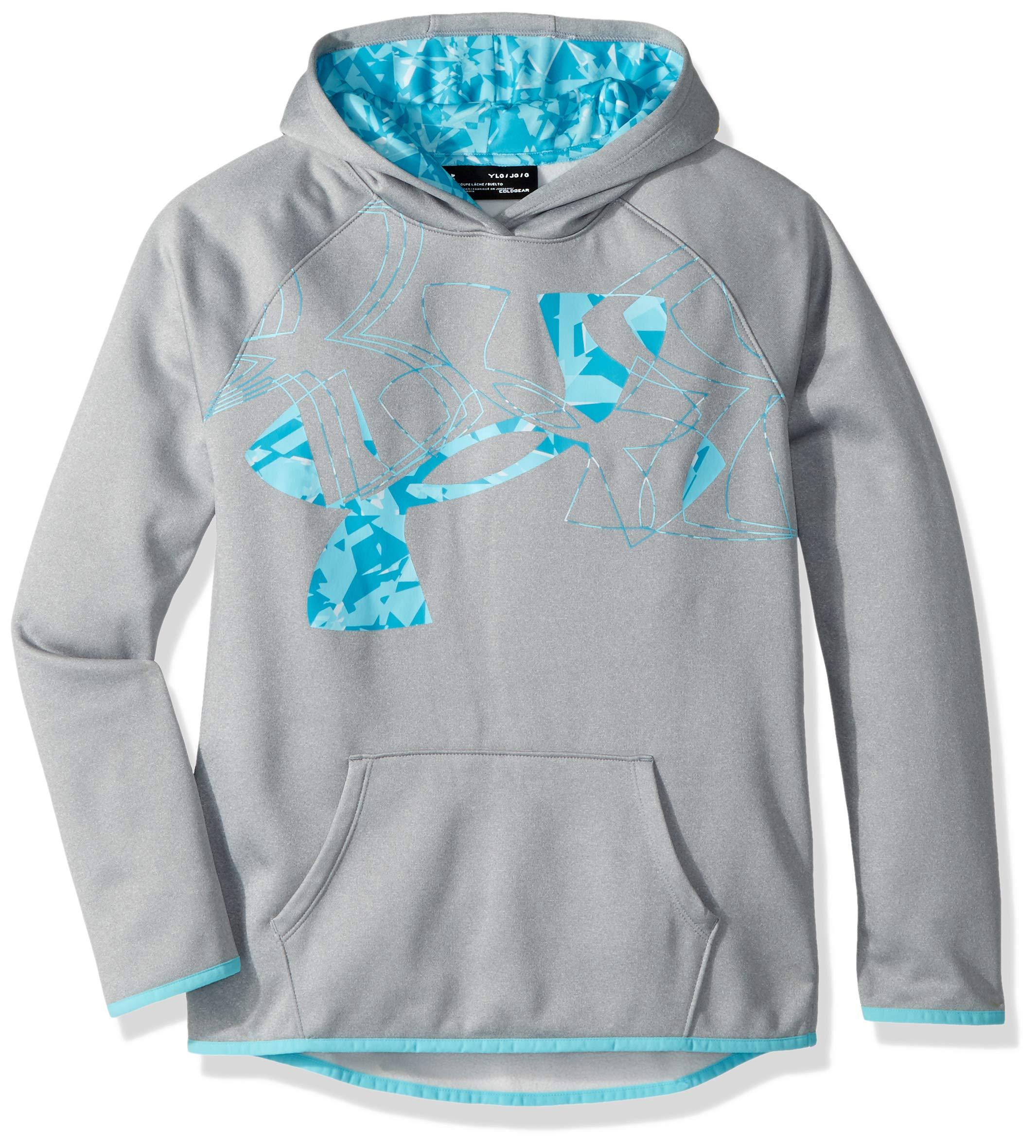 Under Armour Girls Armour Fleece Print Fill Logo Hoodie , Steel Light Heather (036)/Deceit, Youth X-Small