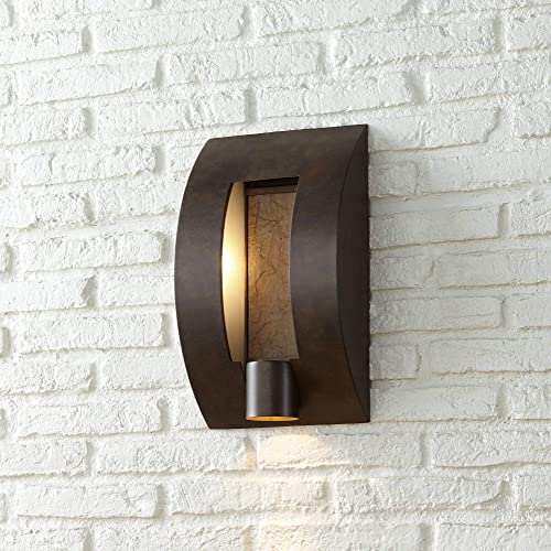 Modern Outdoor Wall Light Fixture Bronze 16 Framed Slate for Exterior House Patio Porch – Franklin Iron Works