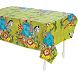 Fun Express Zoo Animal Party Plastic Tablecloth - 108 x 54 inches