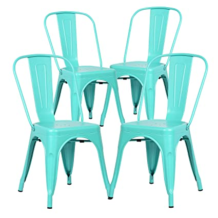 Amazon Com Poly And Bark Trattoria Side Chair In Aqua Set Of 4