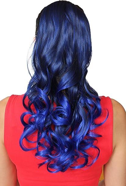 PRETTYSHOP Clip en las extensiones postizos ondulado de cabello pelo largo hechos de fibras sintéticas resistentes al calor negro mezcla azul # ...