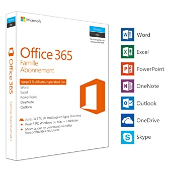 Microsoft Office 365 Famille | 5 PC Windows ou Mac + 5 tablettes | 1 an | Box