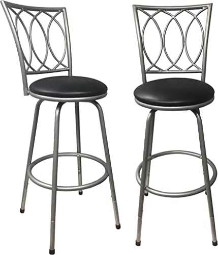 Roundhill Furniture Round Seat Counter Height Adjustable Metal Bar Stools Set of 2 , Black