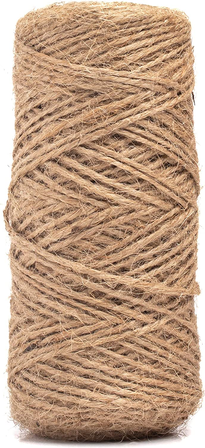 Limited Time Offer: HowenDay 328 Feet Natural Jute Twine String for Crafts, Weddings, Christmas Gifts, and Gardening Applications- Made of All Natural Jute String Measuring