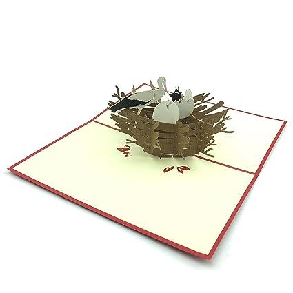 Tarjeta de felicitación para nacimiento cigüeña