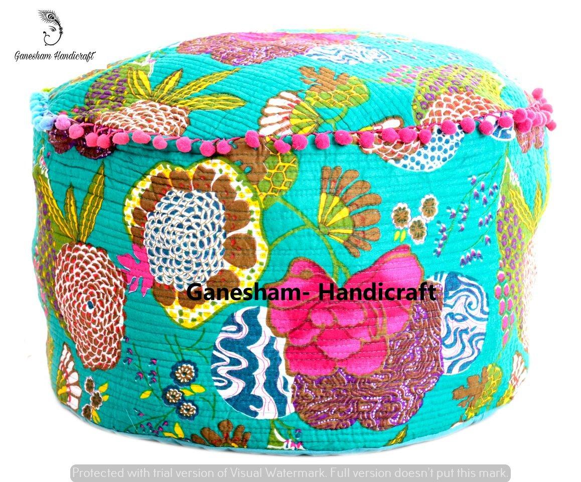 Indian Hippie Gypsy Boho Decor Living Room Vintage Footstool & Pouf Otoomans Cotton Handmade Designer Bean Bags Ethnic Seating Pouf Bohemian Decorative Kantha Floor Pillows & Cushion GANESHAM