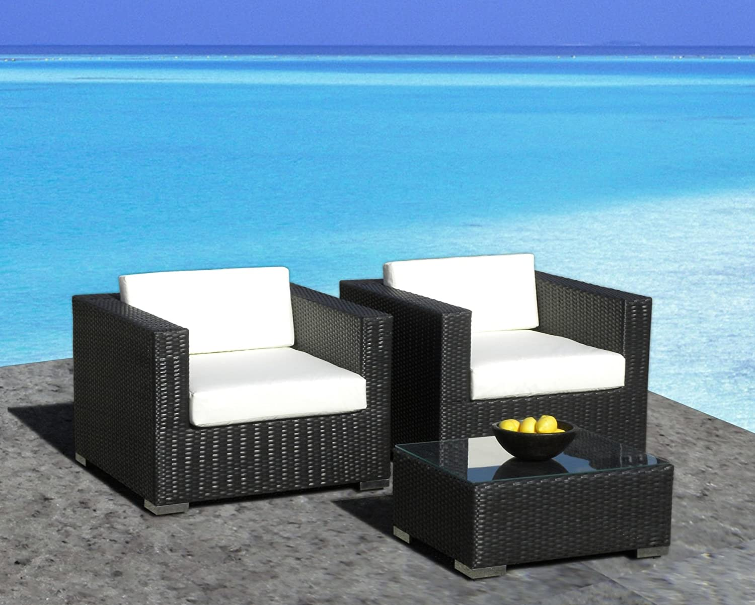 Amazon.com : Outdoor Patio Furniture All-Weather Wicker 3 Pc Arm ...
