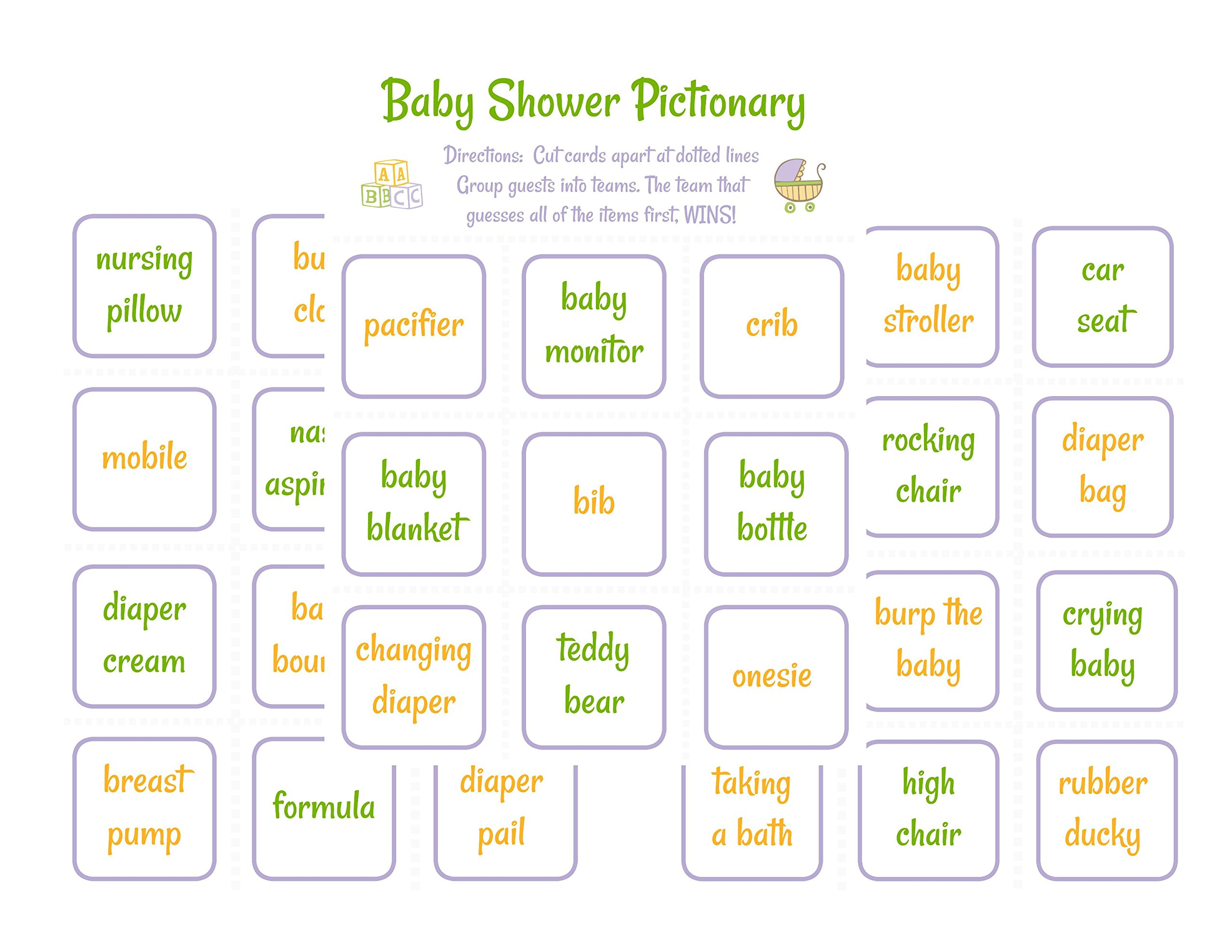 Baby Shower Pictionary Party Game- with 33 Game Cards and Instructions Gender Neutral Theme for Boy or Girl Activity Set