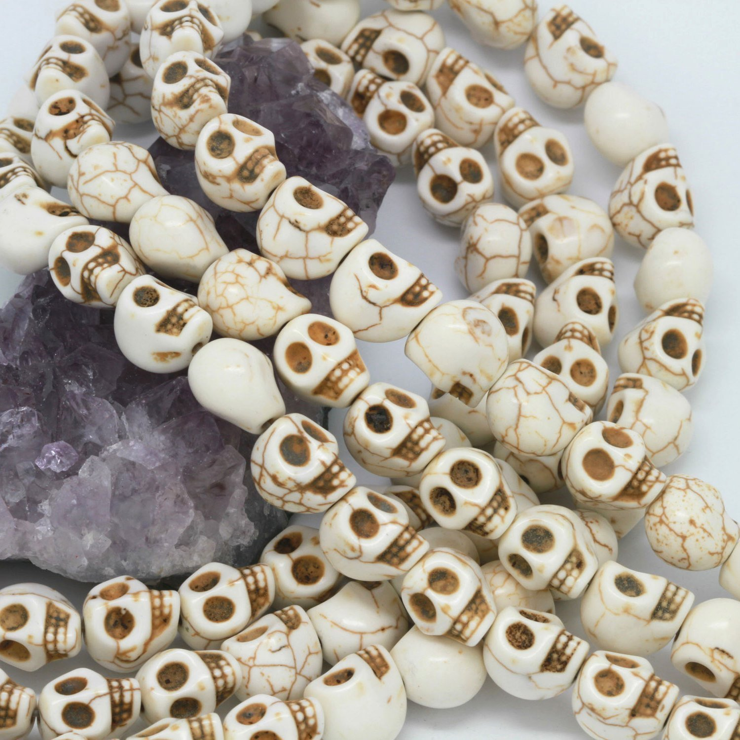 DUMAN 16 Inch Strand Loose Beads Carved Skull Spacer 10X12mm White AEQW-WER-AW123958