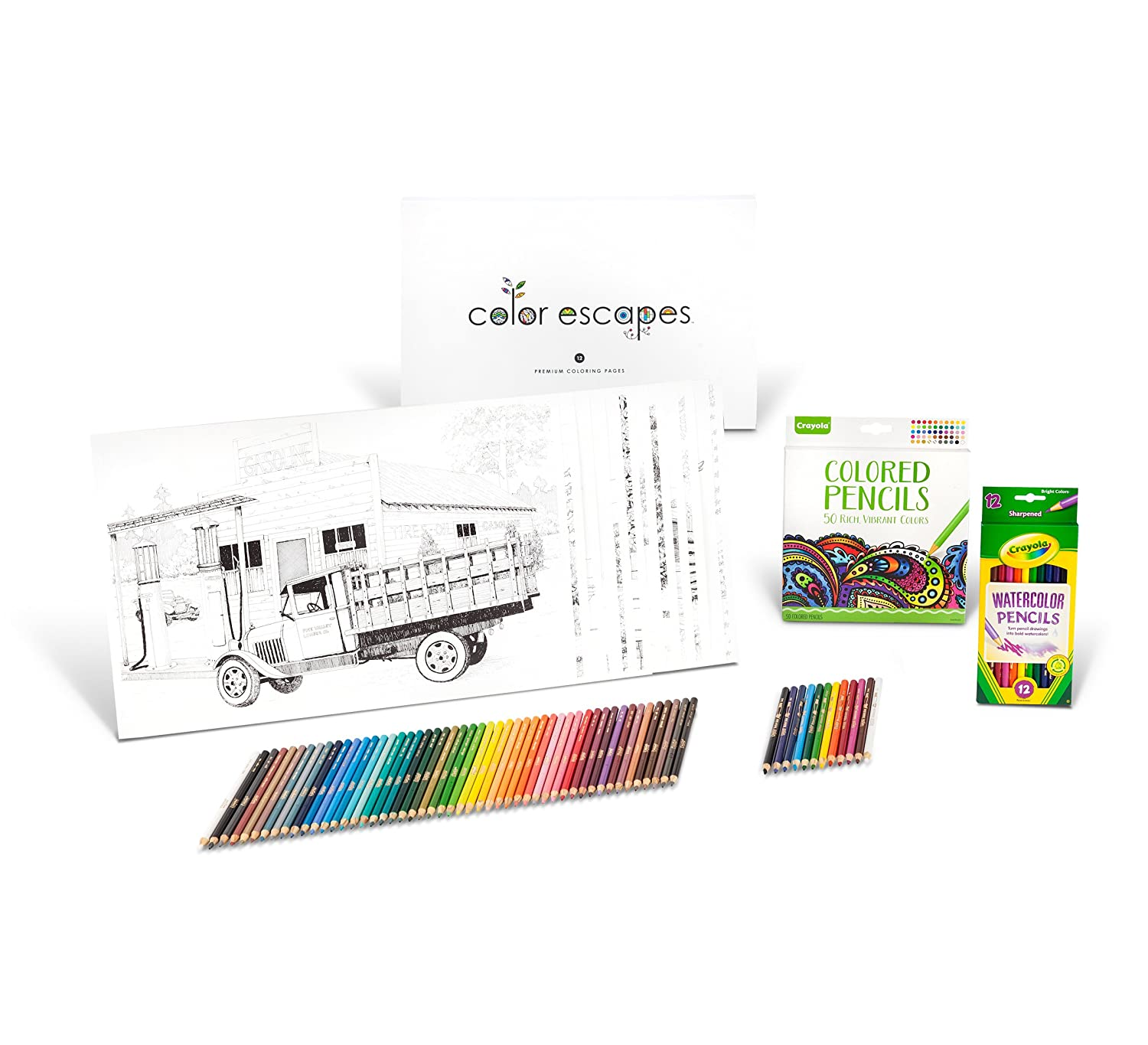 amazoncom crayola color escapes coloring pages pencil kit americana edition 12 premium pages 12 watercolor pencils 50 colored pencils