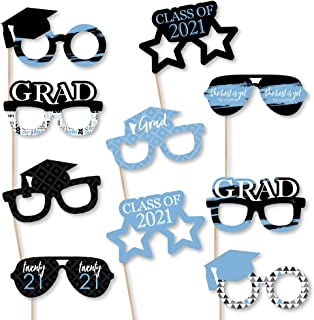 product image for Big Dot of Happiness Light Blue Grad - Best is Yet to Come - Glasses - Light Blue 2021 Paper Card Stock Graduation Party Photo Booth Props Kit - 10 Count