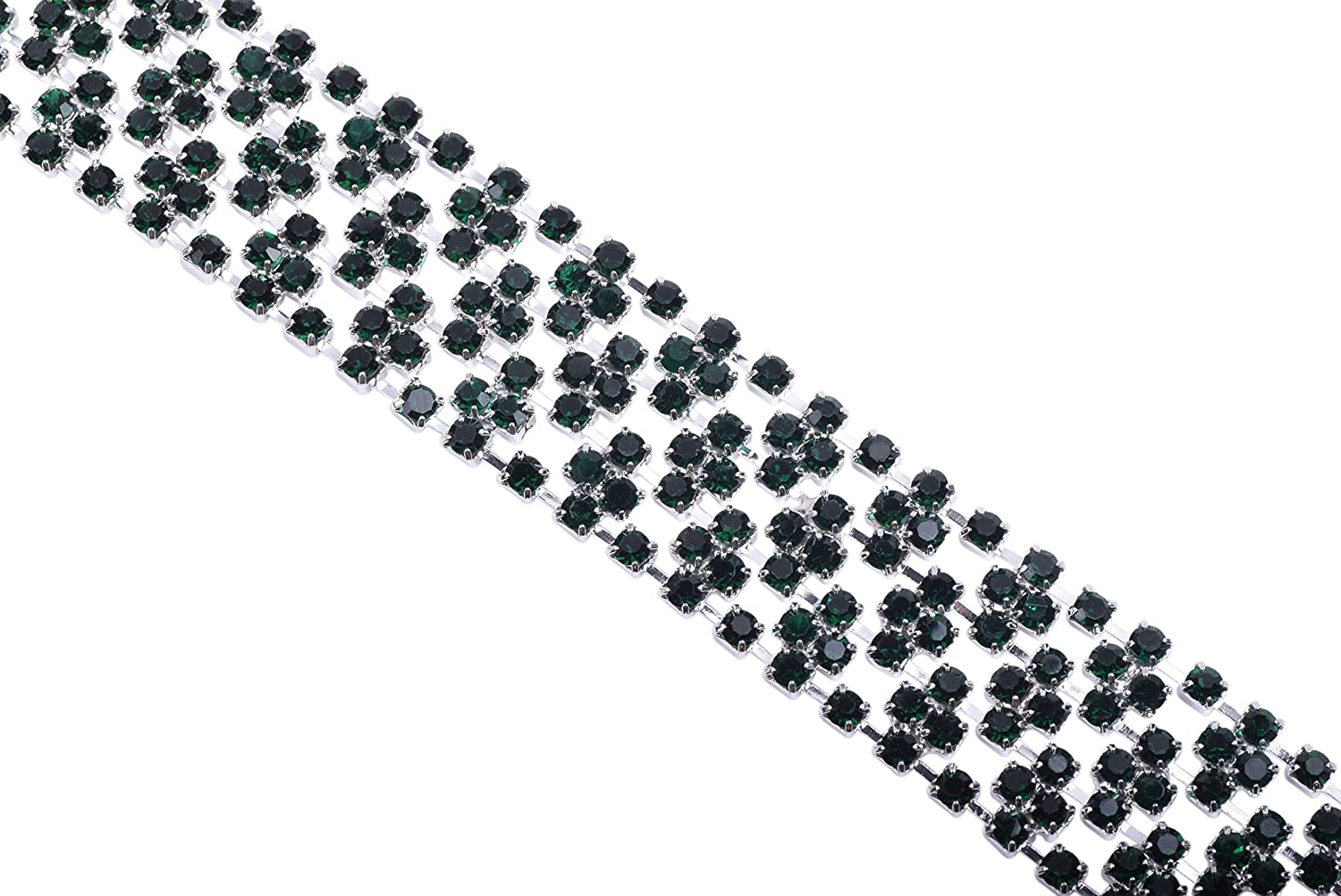 KAOYOO 1 Yard Crystal Rhinestone Chain Trim Sewing for Clothing,SS08//2.5mm//0.01,Silver Chain with Crystal Beads Clear