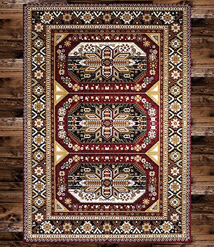 KILIM Boho Bohemian Burgundy Gabbeh Vintage Style K606 Area Rug Clearance Soft and Durable Pile. Size Option 3'.7'' X 5'