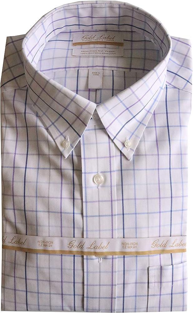 NWT Gold Label Roundtree York LS Red Tan Blue Check Men Shirt Big Tall 2XT 3XT