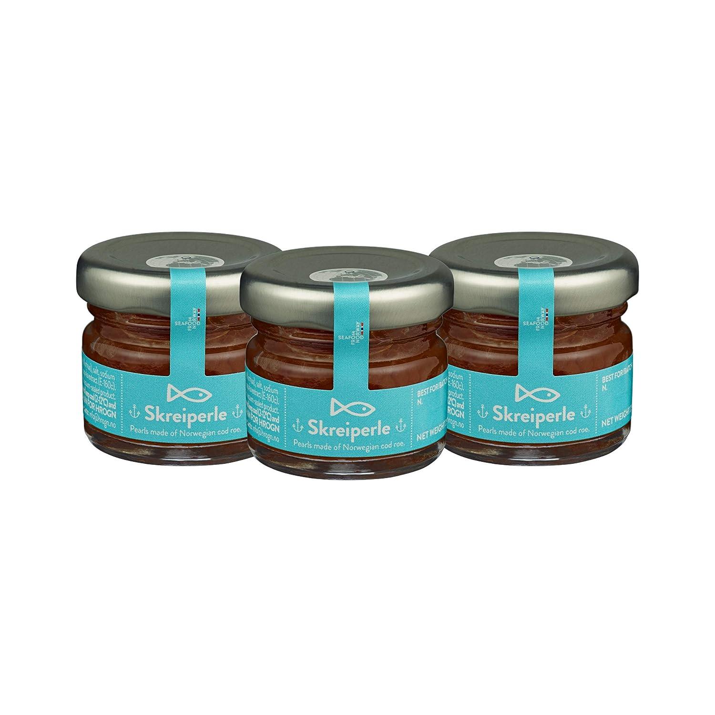 Skreiperle - Cod Roe Caviar Pearls - Pack 0.88 oz x 3 - Made from the finest Norwegian cod roe - Kosher