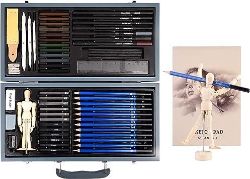 Black Mammoth Maletín de Dibujo Profesional, Set de lápices de carboncillo y Material de Dibujo artístico. Estuche de Madera de 60 Piezas Ideal para Dibujo y el Dibujo de carbón.: Amazon.es: Juguetes