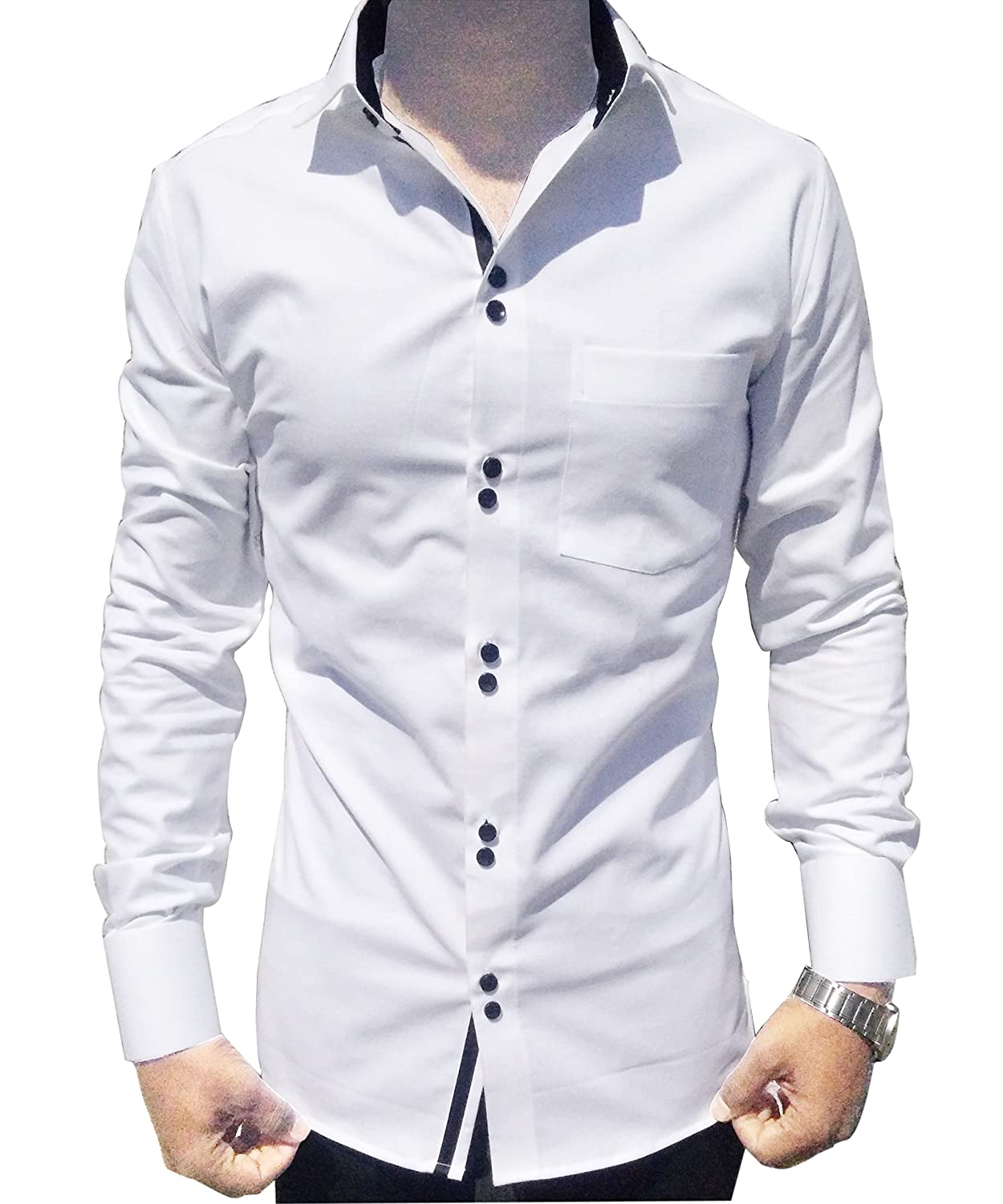 casual shirts for men,white cotton trendy shirt,long sleeves,slim ...
