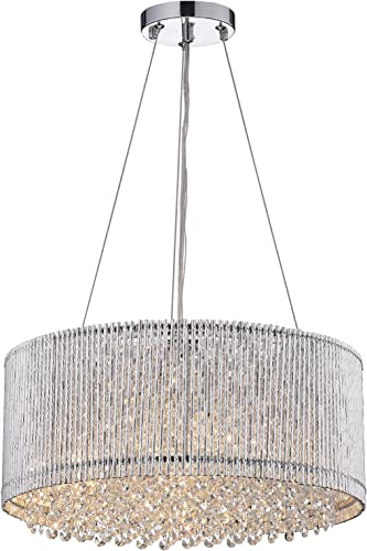 Edvivi Pamina 4-Light Chrome Tube Round Drum Shade Pendant Chandelier