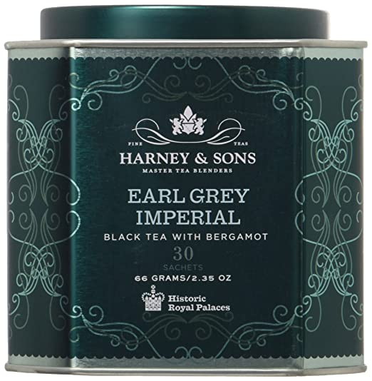 Harney & Sons Earl Grey Imperial Tea Tin - Fine Black Tea with Natural Bergamot - 2.35 Ounces, 30 Sachets