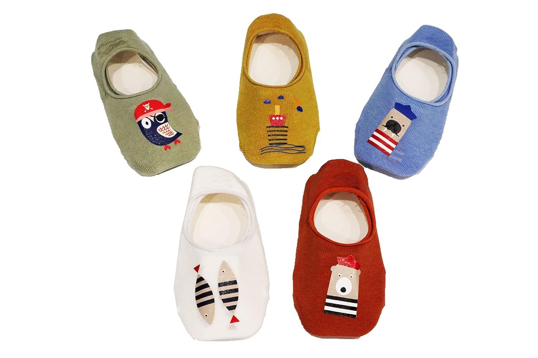 1-3 Years Ceguimos 5 Pairs Baby Kids No Show Cotton Socks Ankle Socks Anti Slip Set 3