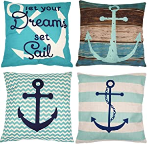 ZUEXT Pack of 4 Decorative Nautical Sailing Throw Pillow Cover Decorative Cotton Linen Burlap Square Outdoor Cushion Cover Pillow Case for Car Sofa Bed Couch 18 x 18 Inch Anchor Ship Rudder