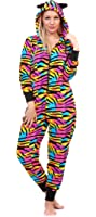 Totally Pink Women's Plus Size Warm and Cozy Plush Onesie Pajama (2X/3X, Multi Zebra)