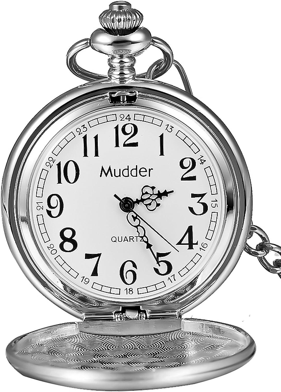 Reloj de bolsillo clásico de acero liso vintage para hombre, regalo de Navidad