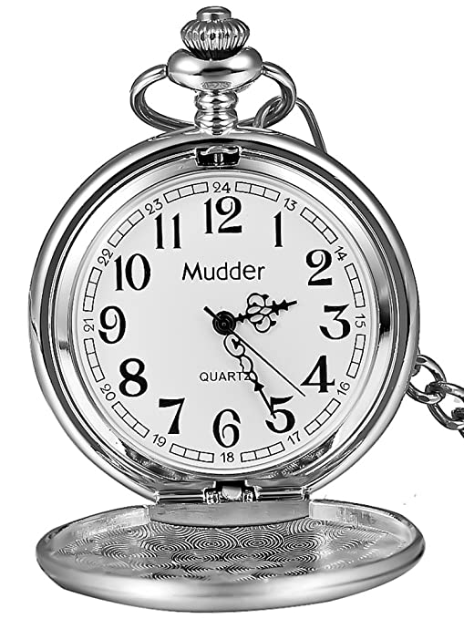 Amazon Com Mudder Classic Smooth Vintage Steel Mens Pocket Watch