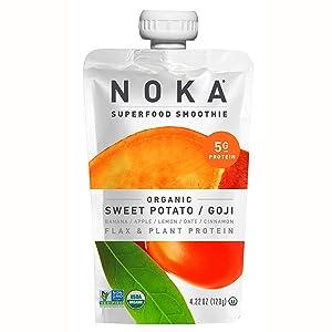NOKA Superfood Pouches (Sweet Potato Goji) 12 Pack   100% Organic Fruit And Veggie Smoothie Squeeze Packs   Non GMO, Gluten Free, Vegan, 5g Plant Protein   4.2oz Each