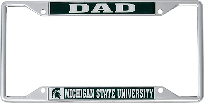 Dad Desert Cactus Michigan State University MSU Spartans NCAA Metal License Plate Frame for Front Back of Car Officially Licensed