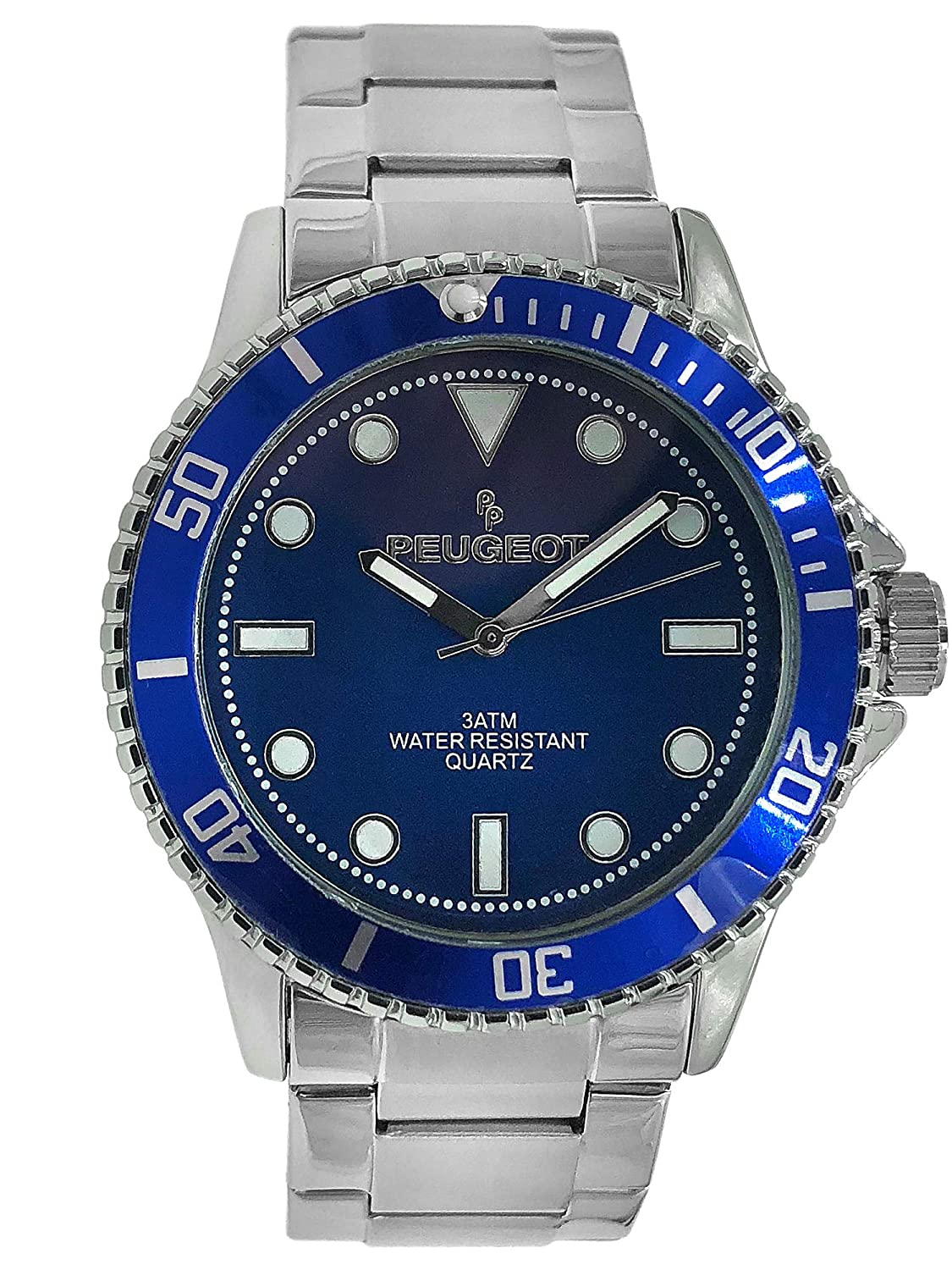 Amazon.com: Peugeot Mens Sports Watch with Rotating Bezel Pro Dive, Blue Dial & Stainless Steel Silver Bracelet: Watches