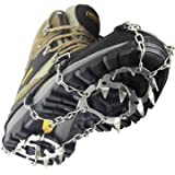 YUEDGE 18 Teeth Stainless Steel Crampons Slip-resistant Shoes Cover Outdoor Ski Ice Snow Hiking Climbing Traction Cleats, Grips, Crampons, Ice Spikes, Ice Grips
