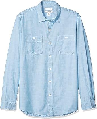 Amazon Essentials - Camisa de cambray con manga larga y corte recto para hombre: Amazon.es: Ropa y accesorios