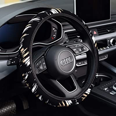 KAFEEK Steering Wheel Cover,Warm in Winter and Cool in Summer, Universal 15 inch, Microfiber Breathable Cloth, Anti-Slip, Odorless, Easy Carry, Black White: Automotive