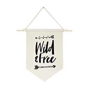 The Cotton & Canvas Co. Wild & Free Hanging Wall Canvas Banner for Baby Girl, Baby Boy, Nursery, Teen and Kids Room