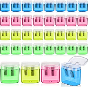 36 Pieces Double Hole Pencil Sharpener 4 Colors Manual Pencil Sharpener with Lid for Kids Present School Office Home (Pink, Yellow, Green, Blue)