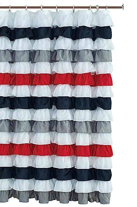 Amazon Waterfall Ruffled Fabric Shower Curtain BLACK RED