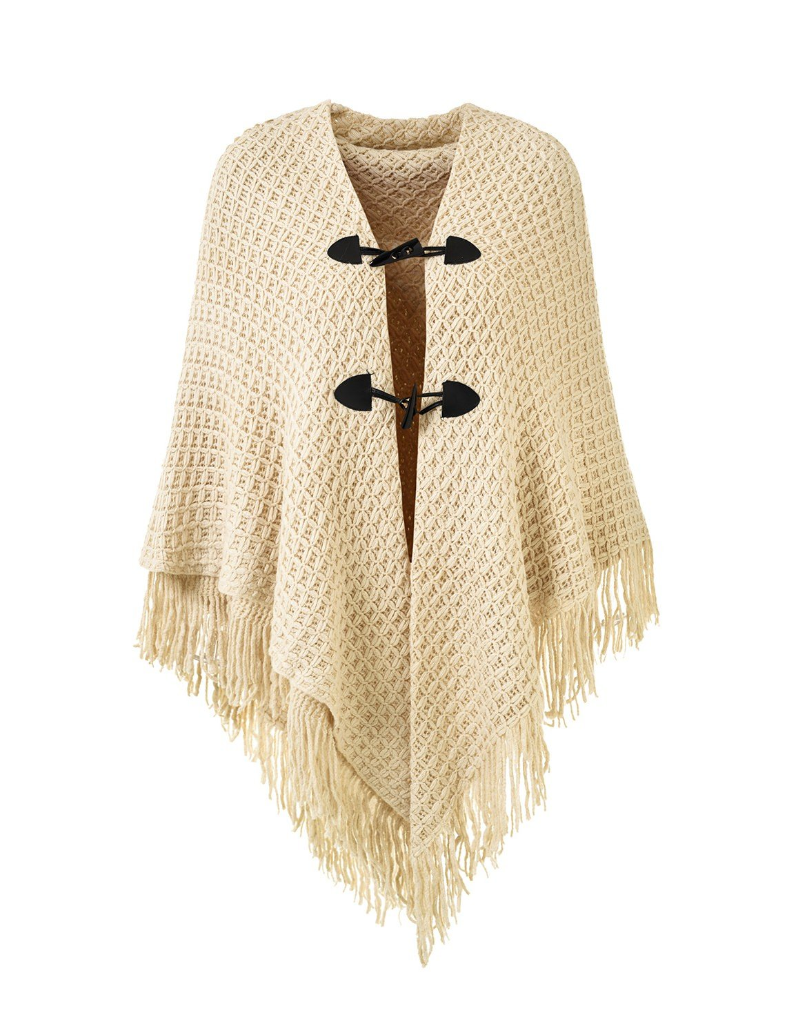 Ferand Women's Loose Fitting Poncho Cape Shawl with Stylish Horn Buttons, V Neckline and V Hem, Beige (Larger & Thicker Style)